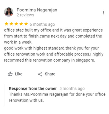 testimonals of office renovation contractor
